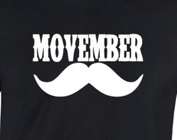 Movember Moustache T-Shirt. Moustache Shirt  Moustache Gift. Funny Moustache Tee. Movember Shirt.