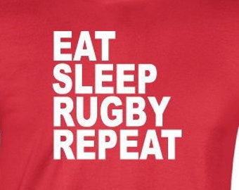 ad00adf0 Eat Sleep Rugby Repeat T-Shirt. Rugby World Cup. Six Nations Canada Cup T- Shirt. Funny Rugby Shirt. Rugby Fan Shirt. Rugby Gift.