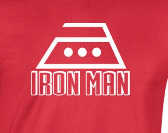 Iron Man T-Shirt. Superhero Ironing Parody T-Shirt. Superhero Fan Shirt. Funny Iron Man Shirt.