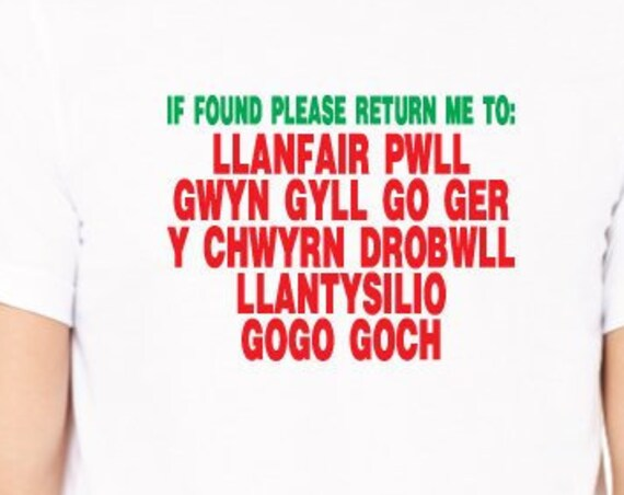 Longest Welsh Name Shirt. Llanfair Go Gogoch T-Shirt. Welsh Town With Longest Name. Funny Wales Shirt. Funny Welsh Shirt. Welsh Souvenir.