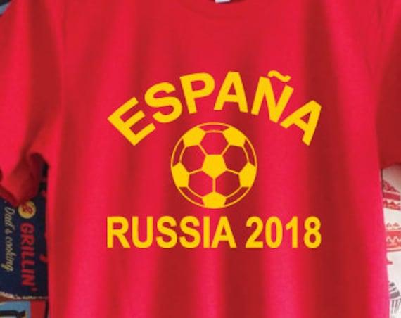 España Russia 2018 Shirt. Spain Russia 2018 Football World Cup Support Shirt. Spanish Football Shirt. Spain Shirt