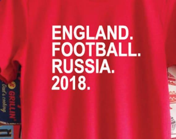 England Football Russia 2018 Shirt. England Football World Cup Support Shirt. English Football Shirt.