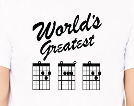 World's Greatest Dad T-Shirt. Guitar Dad Shirt. Father's Day Gift. Best Dad Guitar Shirt. Dad Gift. Guitarist Chord Tab Shirt.