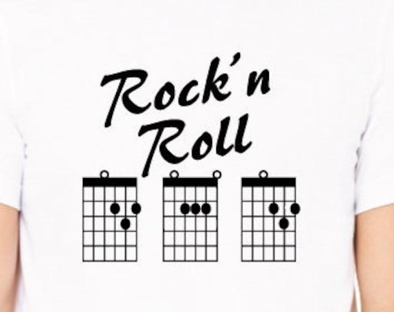 Rock'n Roll Dad Shirt. Dad Guitar Chords Shirt. Rock and Roll Dad T-Shirt. Guitar Chord Shirt. Guitar Dad T-Shirt.