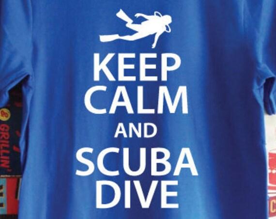 Keep Calm And Scuba Dive T-Shirt. Scuba Diving Shirt. Unisex Dive Shirt. Scuba Shirt. Gift For Divers. Scuba Gift. Go Diving.