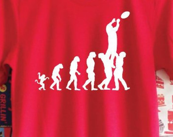 Evolution Rugby Lineout T-Shirt. Rugby World Cup Shirt. Six Nations Canada Cup T-Shirt. Rugby Shirt. Rugby Gift. Evolution Shirt.