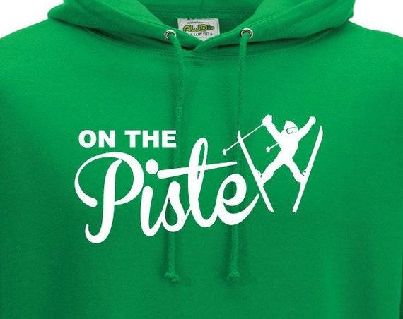 On The Piste Hoodie. Unisex Ski Hoodie. Hooded Sweatshirt. Funny Ski-ing Hoodie. Gift For Skiers. Aprés Ski Hoodie. On The Piss.
