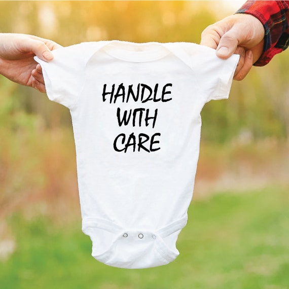 Handle With Care Baby Grow. Funny Baby Outfit. Newborn Gift. Cute Baby Bodysuit. Gift For New Parents.