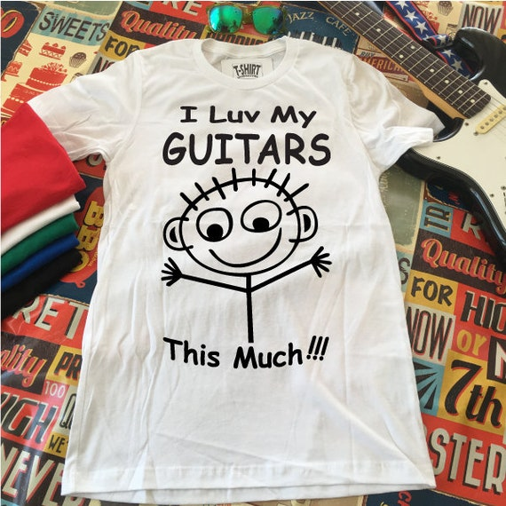 I luv my Guitars THIS MUCH!! This funny Guitar Shirt is the perfect Guitar Player Gift