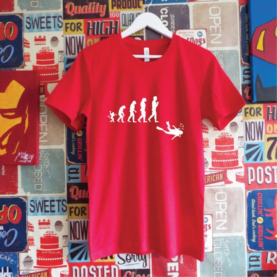 Evolution Scuba Diver T-Shirt. Scuba Shirt. Evolution Dive Shirt. Evolution Shirt. Gift For Divers. Scuba Gift.