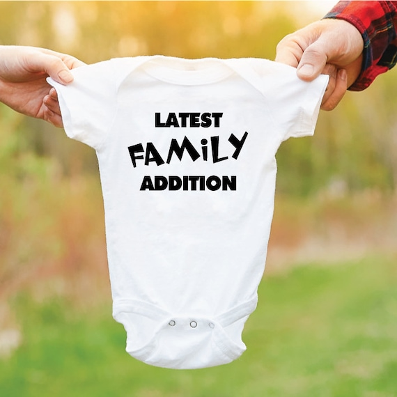 Latest Family Addition Baby Grow. New Baby Outfit. Newborn Gift. Gift For New Parents.
