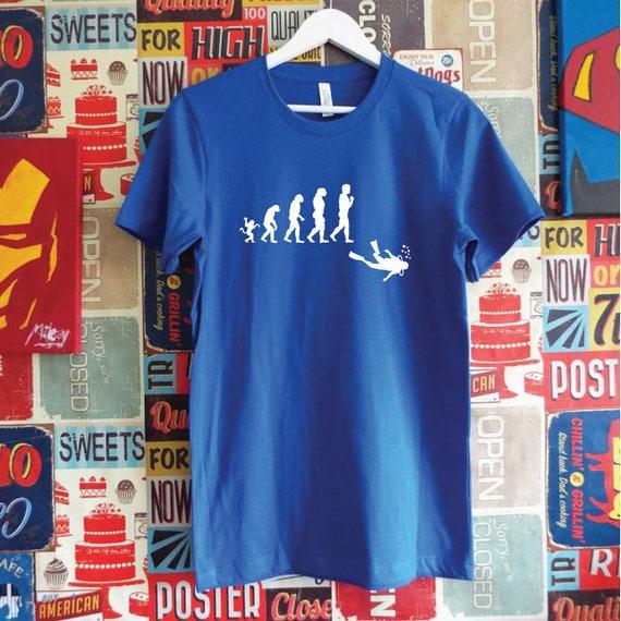 Evolution of Man and Scuba Diver T-Shirt. Diving Enthusiast Shirt