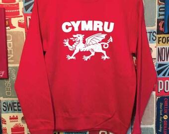 Cymru Sweatshirt. Welsh Dragon Sweatshirt. Unisex Welsh Sweatshirt. Wales Sweatshirt.