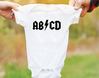ABCD Rock Baby Bodysuit. ACDC Parody Baby Grow. Newborn Gift. Baby Shower Gift. Funny Baby Vest.