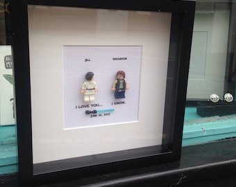 Star Wars I love you I know Princess Leia and Han Solo  Personalised Star Wars Wedding Engagement Gift or Anniversary Frame