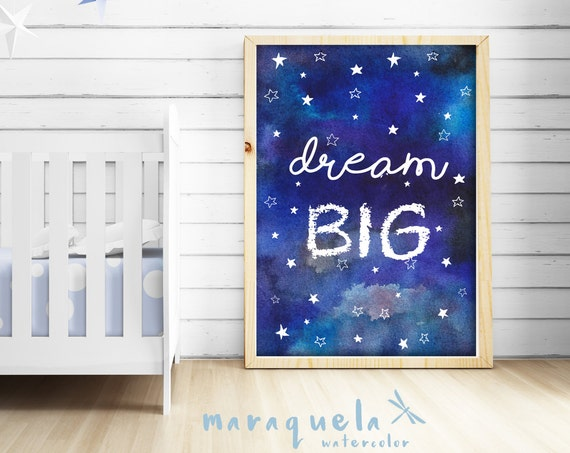 DREAM Big, illustration in watercolor SKY with stars for Baby and kids.