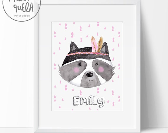 Mapache con nombre, ROSA / Pink Raccoon with name