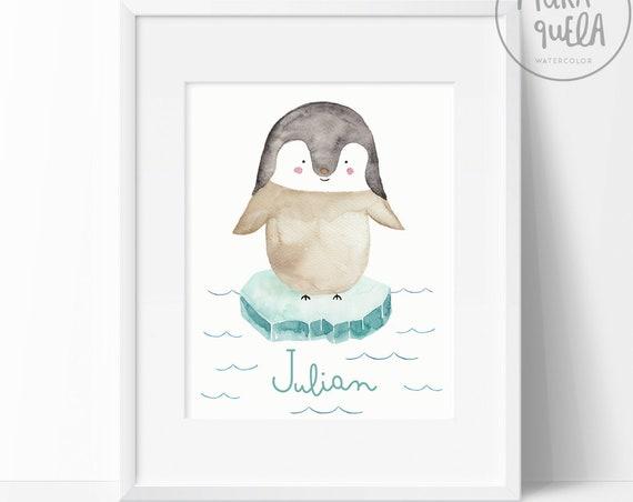 Lámina Pingüino con nombre/ Custom Penguin