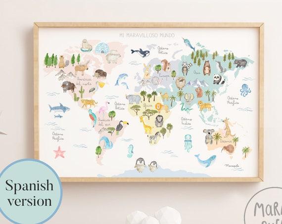 Mi maravilloso mundo - Lámina infantil mapamundi con animales