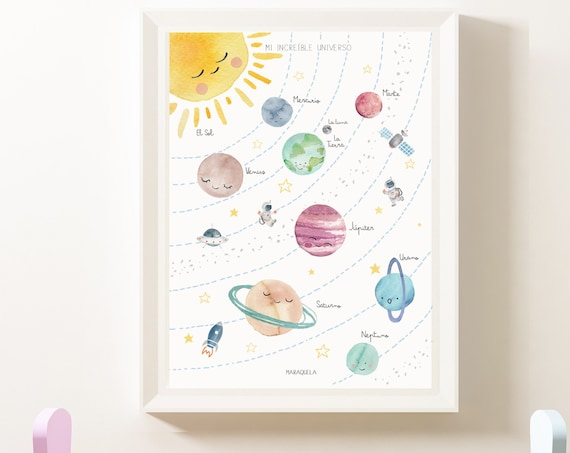 Mi increíble universo - Lámina infantil de los Planetas en ESPAÑOL