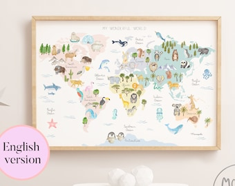 My wonderful world - ENGLISH world map poster of animals for baby and kids - kid's room