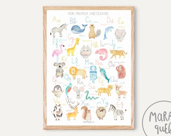 FRENCH Alphabet / Mon premier abécédaire - Alphabet poster in FRENCH language for baby and kids - French ABC print for nursery room