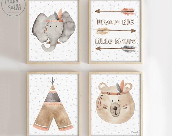 Set Elefante indio - Tienda tipi, flechas con texto personalizado, oso y elefante indio
