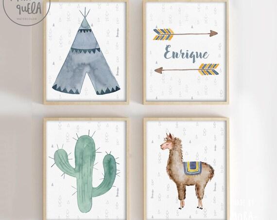 Set Llama, Tipi, flechas con nombre y cactus. Tonalidades azules, amarillo, marron y verde