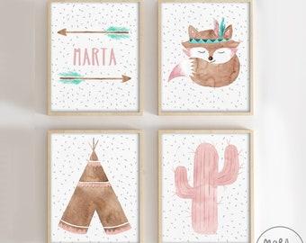 Fox Set - Baby girl nursery - Custom arrows, teepee, baby fox, cactus - American native decor, Watercolor, illustrations, for nursery room