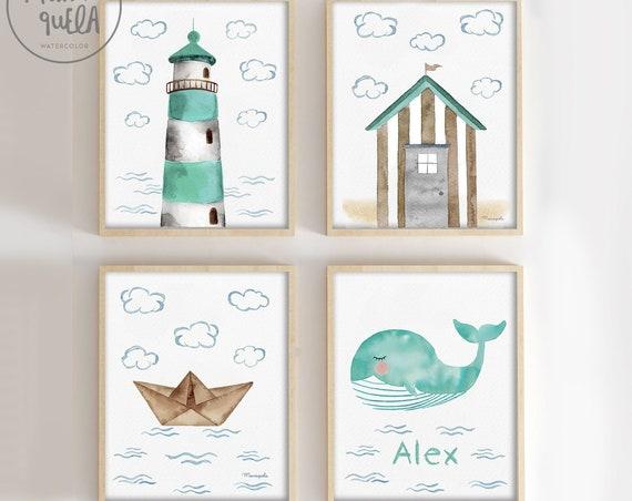 Set Verde Mint y Beige - FARO, barco de papel, ballena y casa de playa