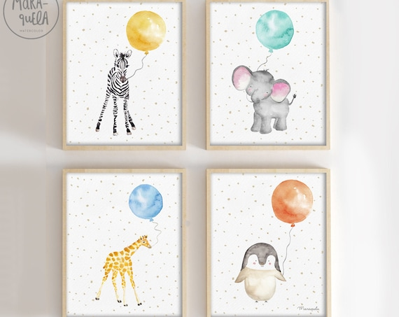 Conjunto de 4 Animales con globos/ Animals With Balloons