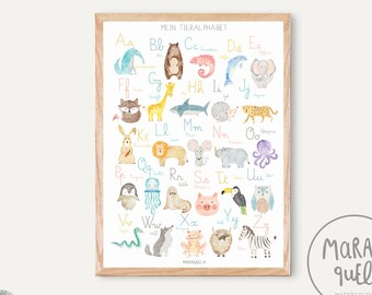 GERMAN Alphabet / Mein Tieralphabet - Alphabet poster in GERMAN language for baby and kids - German ABC print for nursery room