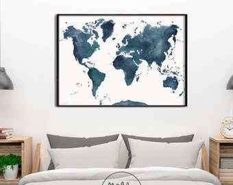 World map decor etsy original world map indigo blue hues dark blue and greenrge wall art print watercolor wedding christmas gift carte du monde wallart gumiabroncs Gallery