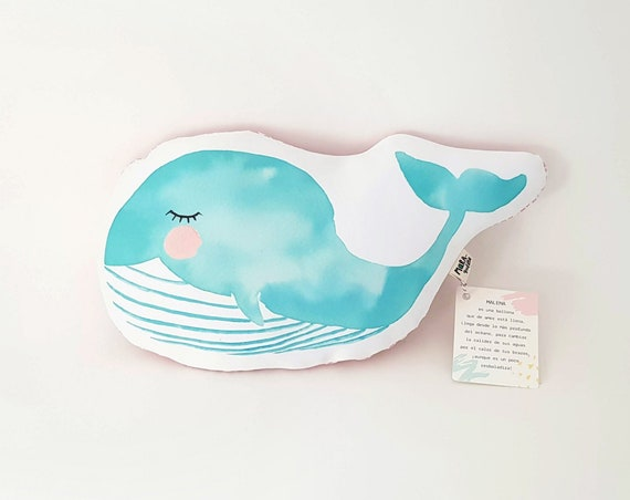 Cojín ilustrado ballena MALENA / Malena whale cushion for newborns
