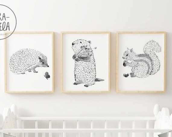 Woodland ANIMALS SET. Black and white, nursery decoration. SET Animales de bosque.