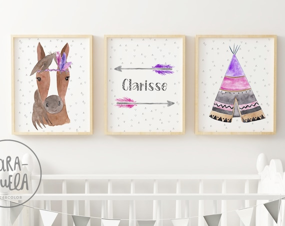 Set Caballo Rosa y Violeta/ Pink and Violet Horse Set