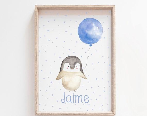 Pingüino con globo Azul personalizado - Custom Little PENGUIN
