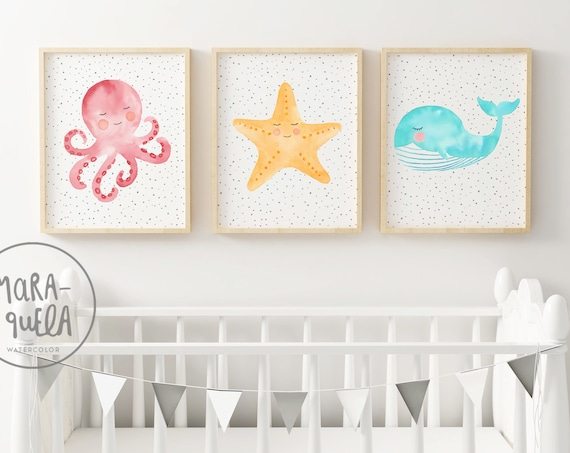 Set Animales Marinos / Watercolor Marine Animals