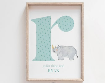 Nursery INITIAL - ENGLISH - Personalized Letter with animal for baby room and kids. Nursery letter, Custom Name Wall Art