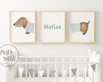 Sausage Dog Set - Illustrations for nursery room, brown and blue palette - Funny prints of Dachshund dog for babies and kids,