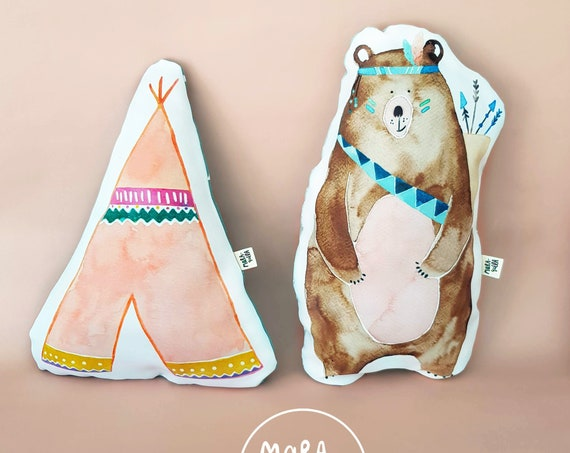 Cojín Oso y Tipi / Bear and Teepee Cushions