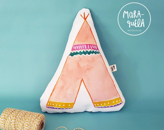 Cojín TIPI rosa coral y azul / Peach Pink Tepee Throw Pillow