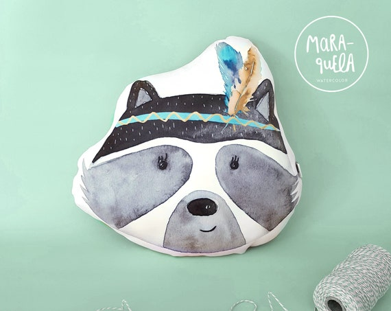 Cojín MAPACHE Gris y Mint / Mint and Grey RACCOON Cushion
