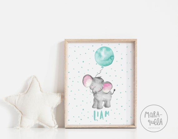 Elefante con globo azul / Little ELEPHANT teal BLUE balloon Watercolor