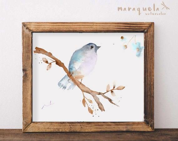 BIRD II  illustration Watercolor Collection, art print birds, animals, nature, elegant birds,light blue hues,home decor,sweet birds painting