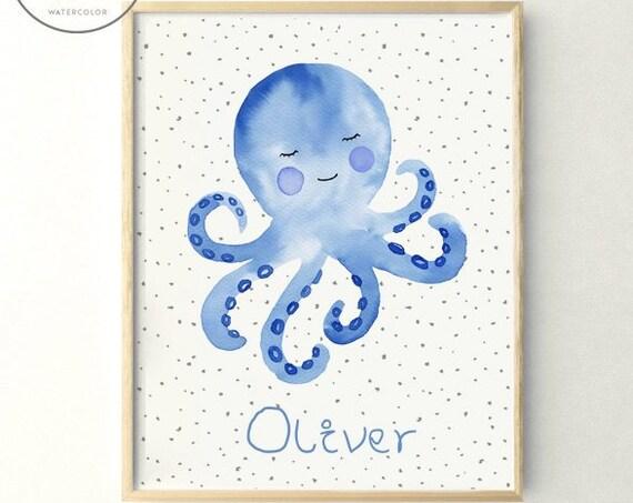 Lámina Pulpo Azul / Blue Octopus print