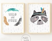 Raccoon illustration and feathers - Wild and free, Watercolor illustrations or the decor of kids