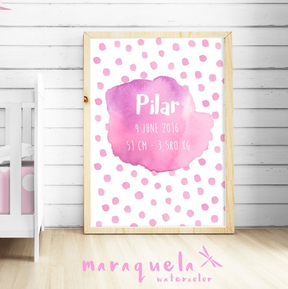 CUSTOMIZED PINK watercolor for newborn with personalized name, date, weight.