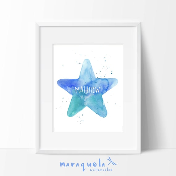 CUSTOM BLUE STAR for baby - Watercolor, illustration Star, baby, newborn, baby shower, nursery decor, with name, personalized gift, wall