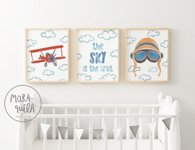 SET AVIADOR. Baby retro decor  Biplane Aviator Helmet sky image 0